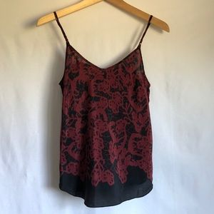 Under/ Wilfred Aritzia silk red and black tank top